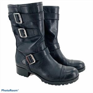 MARC FISHER   Black Leather Moto Combat Boots